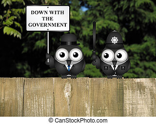 Down with the Government - Comical city gent protesting...