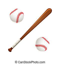 Baseball bat and balls on white - Baseball bat and balls...