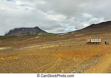 Climbing to active volcano Mutnovsky on Kamchatka. -...