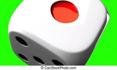 White Dice On Green Chroma Key - Loop able 3DCG render...
