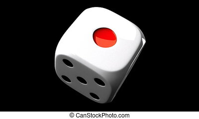 White Dice On Black Background - Loop able 3DCG render...