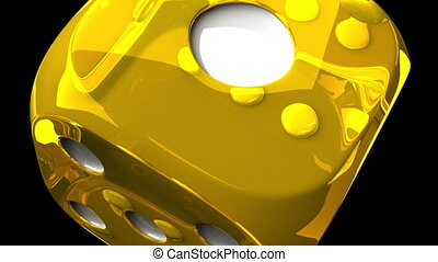 Yellow Dice On Black Background - Loop able 3DCG render...