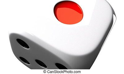 White Dice On White Background - Loop able 3DCG render...