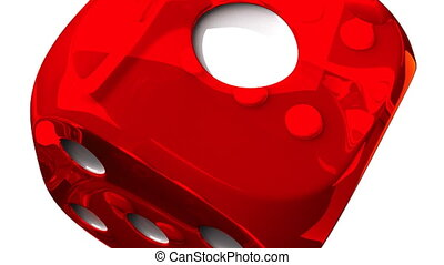 Red Dice On White Background - Loop able 3DCG render...