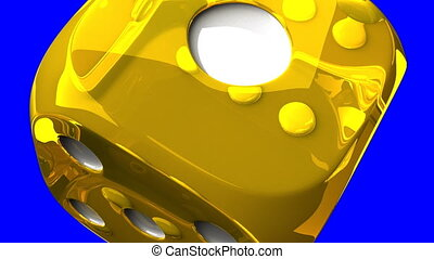 Yellow Dice On Blue Chroma Key - Loop able 3DCG render...