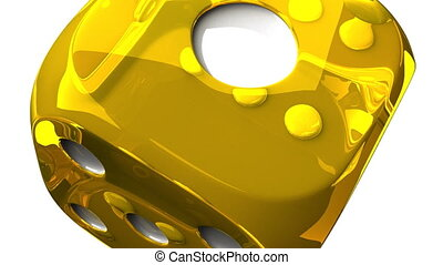 Yellow Dice On White Background - Loop able 3DCG render...