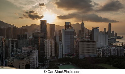Timelapse of evening coming to Hong Kong - Timelapse shot of...