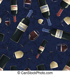 Bottles of red and white wine on blue background - Bottles...
