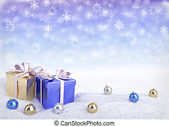 Christmas gift boxes and balls on snow.3D render