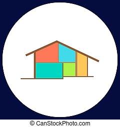 cottage computer symbol - cottage Simple vector button....
