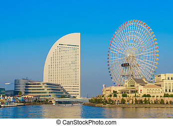 Ferris wheel at cosmo world fun park at minato mirai ,...