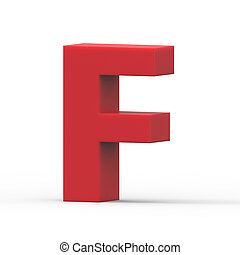 right red letter F - 3d right leaning red letter F, 3D...