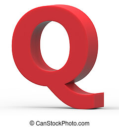right red letter Q - 3d right leaning red letter Q, 3D...