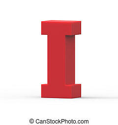 right red letter I - 3d right leaning red letter I, 3D...