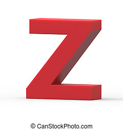 right red letter Z - 3d right leaning red letter Z, 3D...