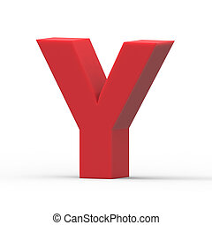 right red letter Y - 3d right leaning red letter Y, 3D...