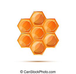 Bright glossy honeycomb with shadow on white - Bright glossy...
