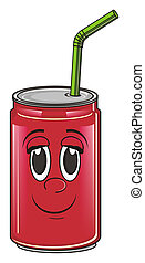 happy soda can - happy red soda can with green tube