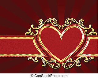 Horizontal heart shaped red banner