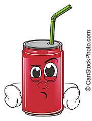 angry soda can - red angry soda can with tube