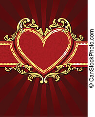 Vertical heart-shaped red banner