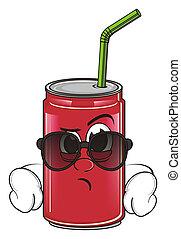 surprise soda can in black sunglasses