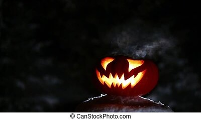 Burning pumpkin on Halloween. Looped - Glowing in the night...