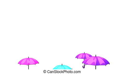 Rising Colorful Umbrellas On White Background