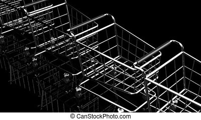 Many Shopping Carts On Black Background - Loop able 3DCG...