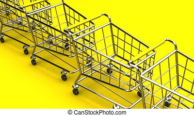 Many Shopping Carts On Yellow Background - Loop able 3DCG...