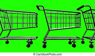 Many Shopping Carts On Green Chroma Key