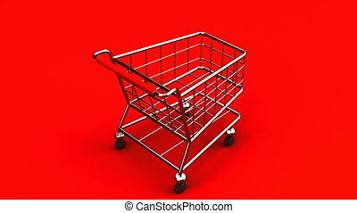 Rotated Shopping Cart On Red Background - Loop able 3DCG...