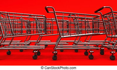 Many Shopping Carts On Red Background - Loop able 3DCG...