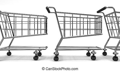Many Shopping Carts On White Background - Loop able 3DCG...