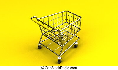 Rotated Shopping Cart On Yellow Background - Loop able 3DCG...