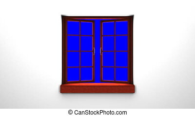 Wooden Window And Blue Chroma Key - 3DCG render Animation.