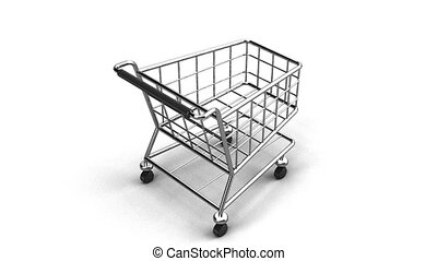 Rotated Shopping Cart On White Background - Loop able 3DCG...