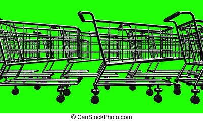 Many Shopping Carts On Green Chroma Key