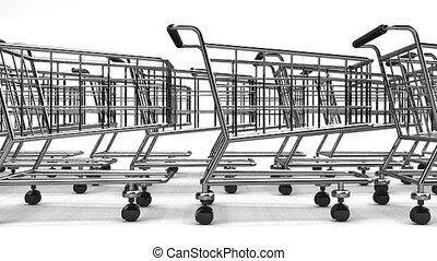 Many Shopping Carts On White Background