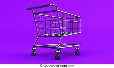 Rotated Shopping Cart On Purple Background - Loop able 3DCG...