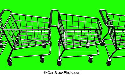Many Shopping Carts On Green Chroma Key - Loop able 3DCG...