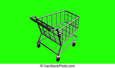 Rotated Shopping Cart On Green Chroma Key