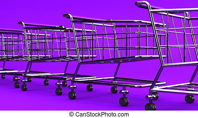 Many Shopping Carts On Purple Background - Loop able 3DCG...