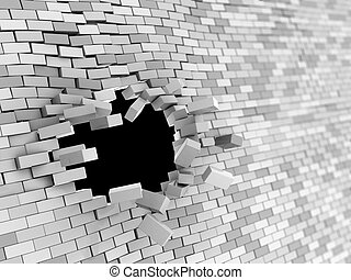 wall crash - abstract 3d illustration of brick wall hole...