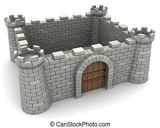 fortress - 3d illustration of fortress wall with empty space...