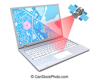 satellite tracking - 3d illustration of location tracking...
