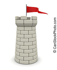 white tower - 3d illustration of white tower with red flag