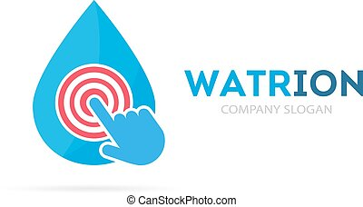 Vector drop and click logo combination. Aqua and cursor...