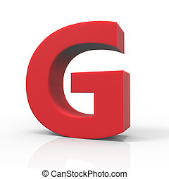 right red letter G - 3d right leaning red letter G, 3D...