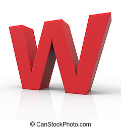 right red letter W - 3d right leaning red letter W, 3D...